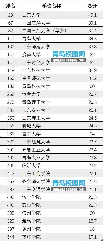 2019年山东省大学排名